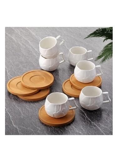 Tohana Tohana THN10906 6'lı Dokulu Bambu klı Porselen Kahve Fincanı Takımı Renkli
